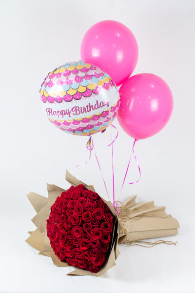 Red Roses Bouquet with Birthday Balloons