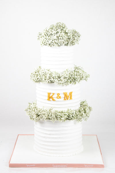 Plain White Cake with Flowers