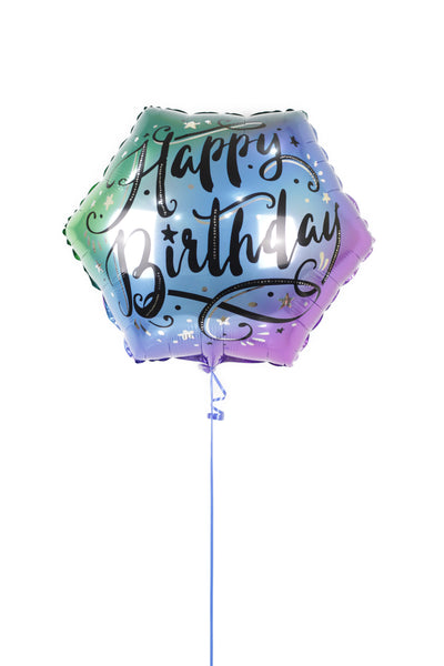 Ombre Rainbow Happy Birthday Foil  Balloon بالونه يوم ميلاد
