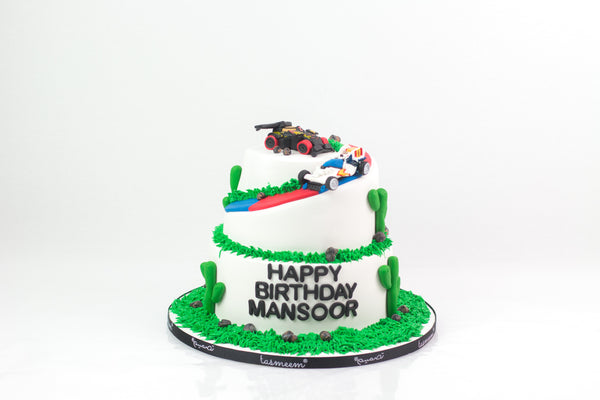 Two-Layered Racer Cake - كيكة الدبدوب