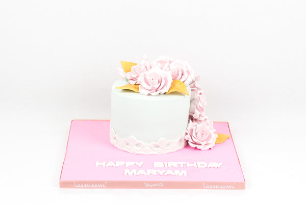 Simple White with Flowers Cake