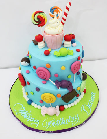 Two Tiered Candy Theme Cake
