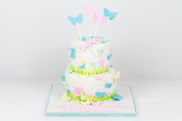 Two Tiered Pastel Butterflies Cake
