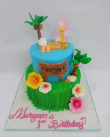 Two Tiered Beach Theme Cake
