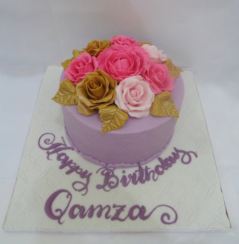 Purple Round Cake with Pink & Gold Flowers