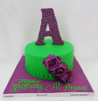 Round Cake with Flower & Letter On The Top