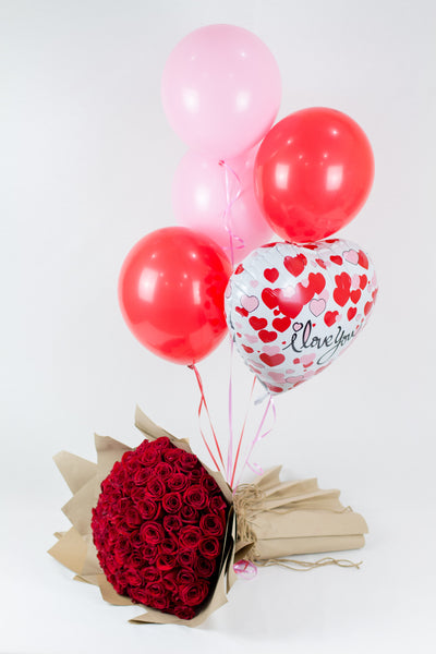 Red Roses Bouquet with ILOVEU Balloons