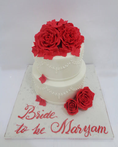 Two Tiered Cake with Red Flowers