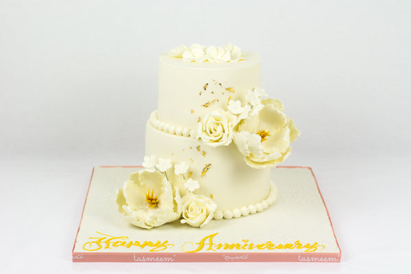 Two Tiered Flower Anniversary Cake - كيكة ذكري زواج