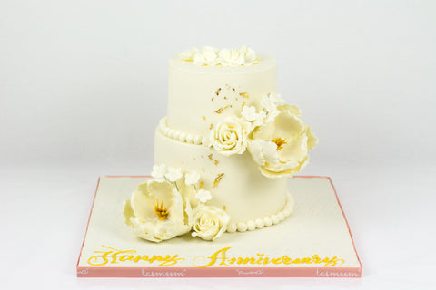 Two Tiered Flower Anniversary Cake