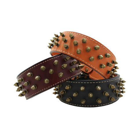 Heirloom 3 Row Spiked Dog Collar