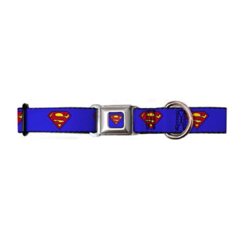 Superman Shield Blue Dog Collar