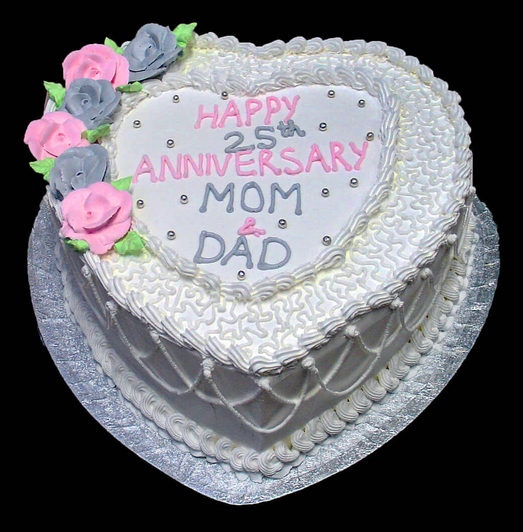 Marvelous Mom Dad 25Th Anniversary Heart Rashmis Bakery Personalised Birthday Cards Arneslily Jamesorg