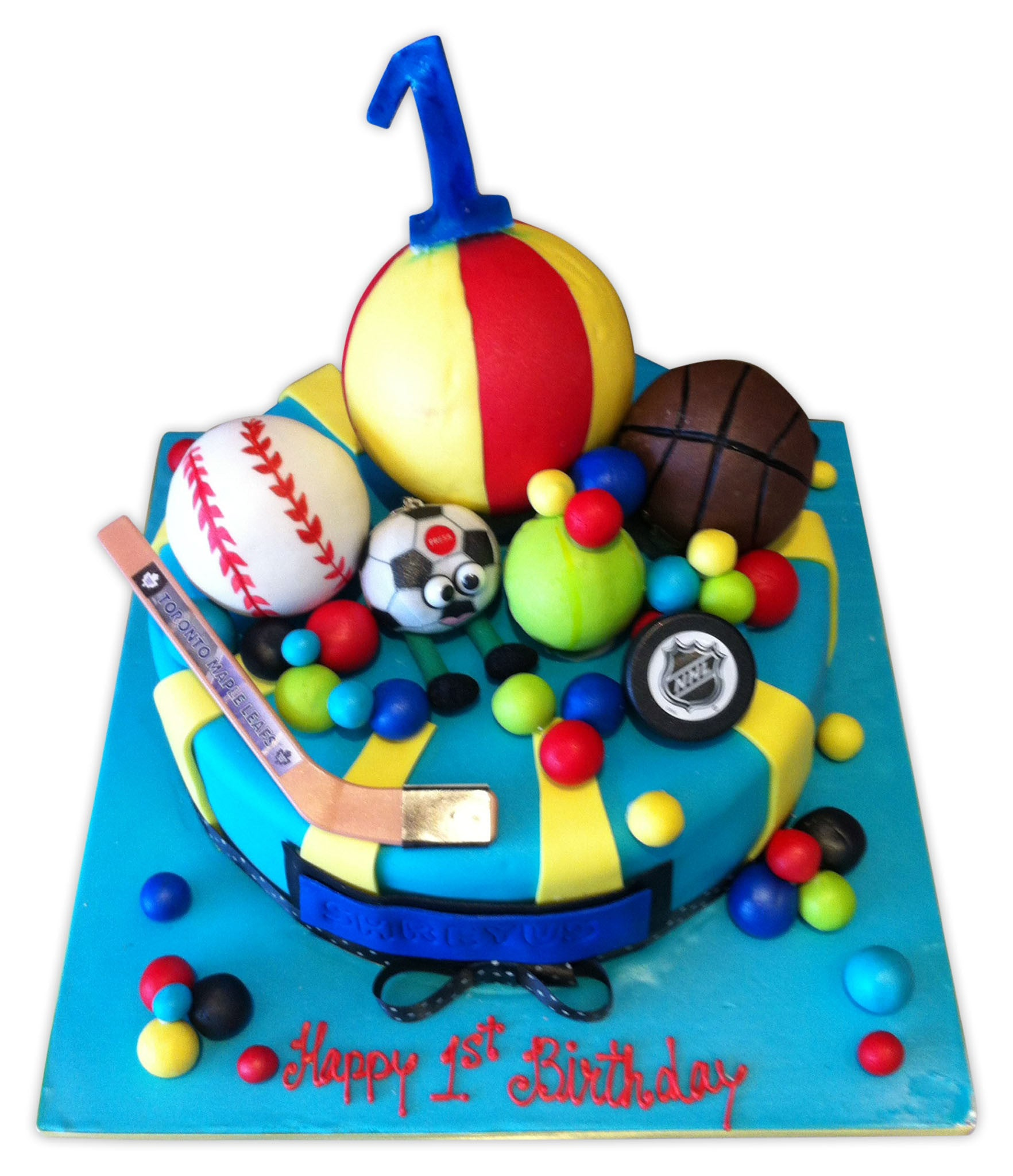 Stupendous First Birthday Sports Ball Cake Rashmis Bakery Personalised Birthday Cards Veneteletsinfo