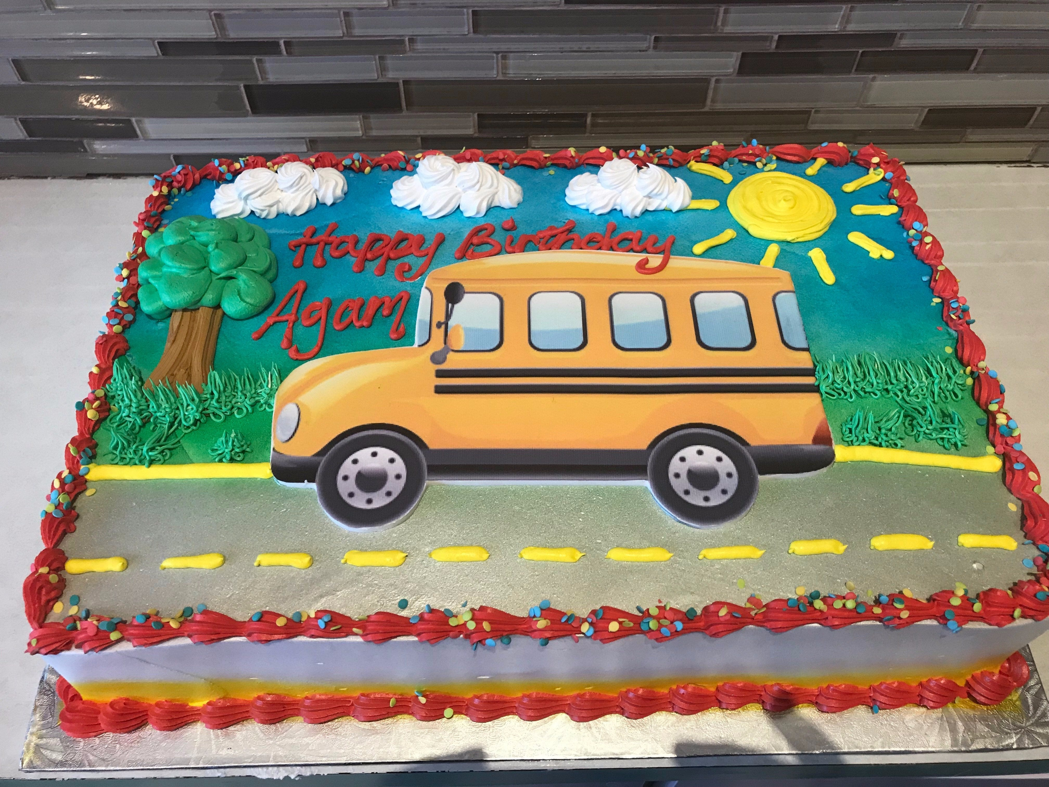 Groovy School Bus Photo Cake Rashmis Bakery Personalised Birthday Cards Cominlily Jamesorg