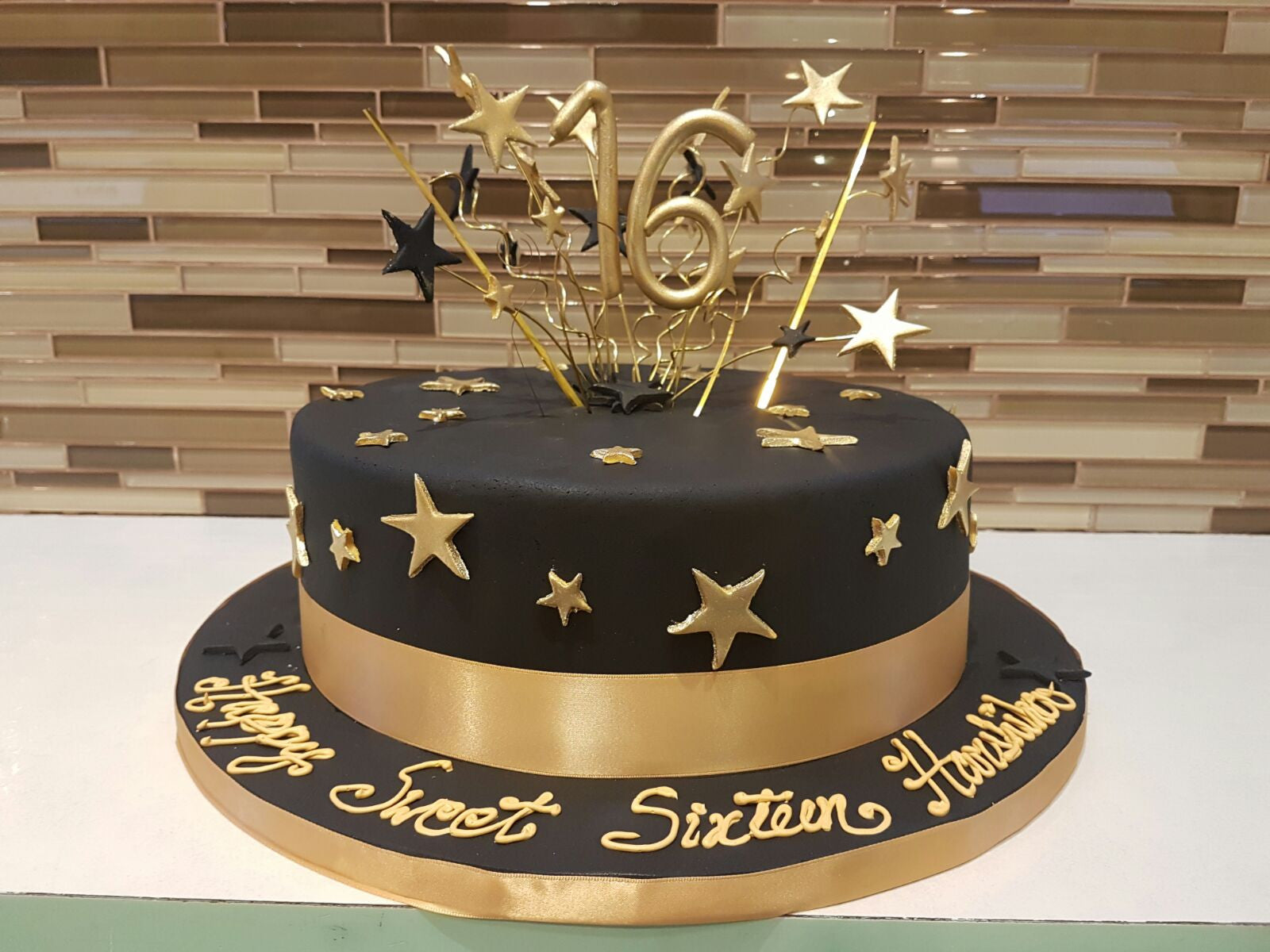 Fabulous Harshika Sweet Sixteen Cake Rashmis Bakery Personalised Birthday Cards Veneteletsinfo