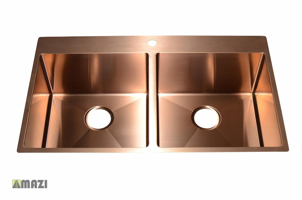 Stainless Steel Handmade Color Kitchen Sink Sb3121 Copper Color Mazi Inc