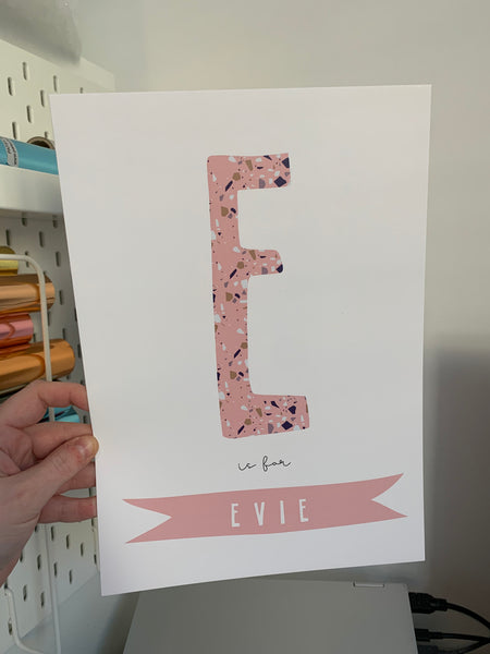 E is for Evie - Pink Terrazzo - A4