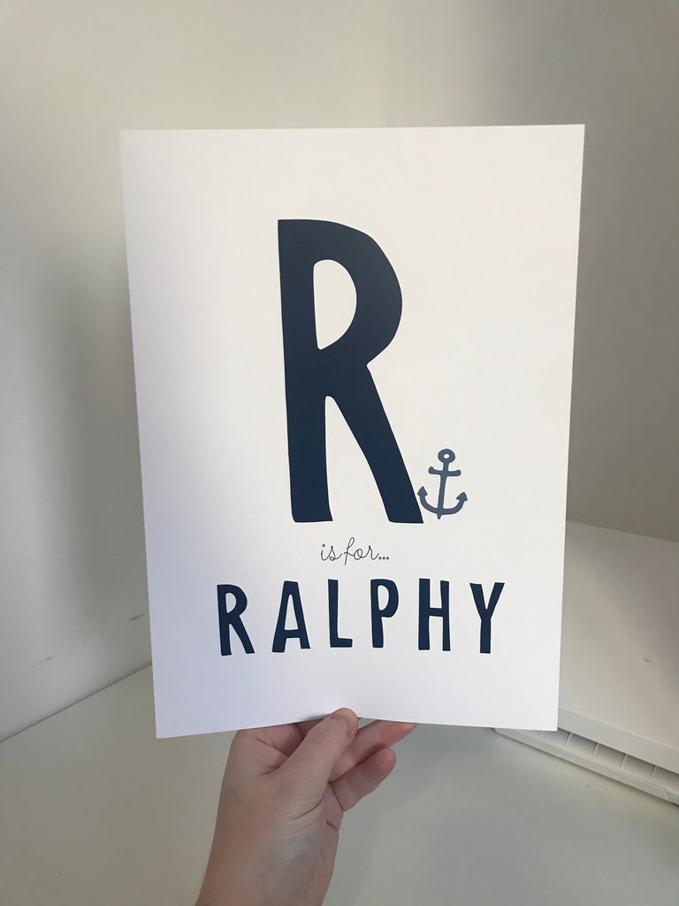R Is For Ralphy - Navy Blue - A4 - L&O Designs