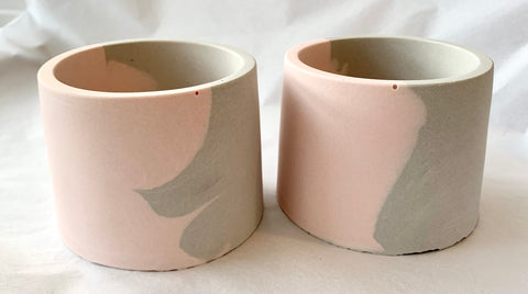 Pink & Grey - Half & Half Pot Set Of 2