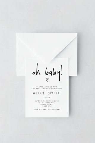 Baby Shower Invitation - Design 1 - L&O Designs