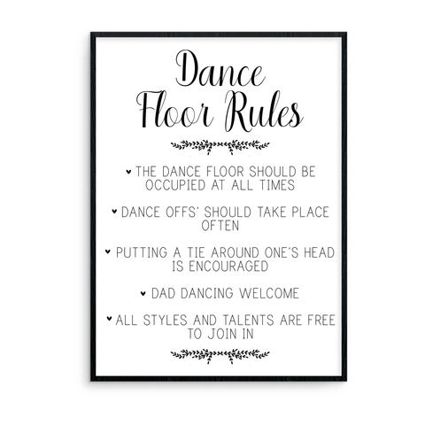 Dance Floor Rules Sign - L&O Designs
