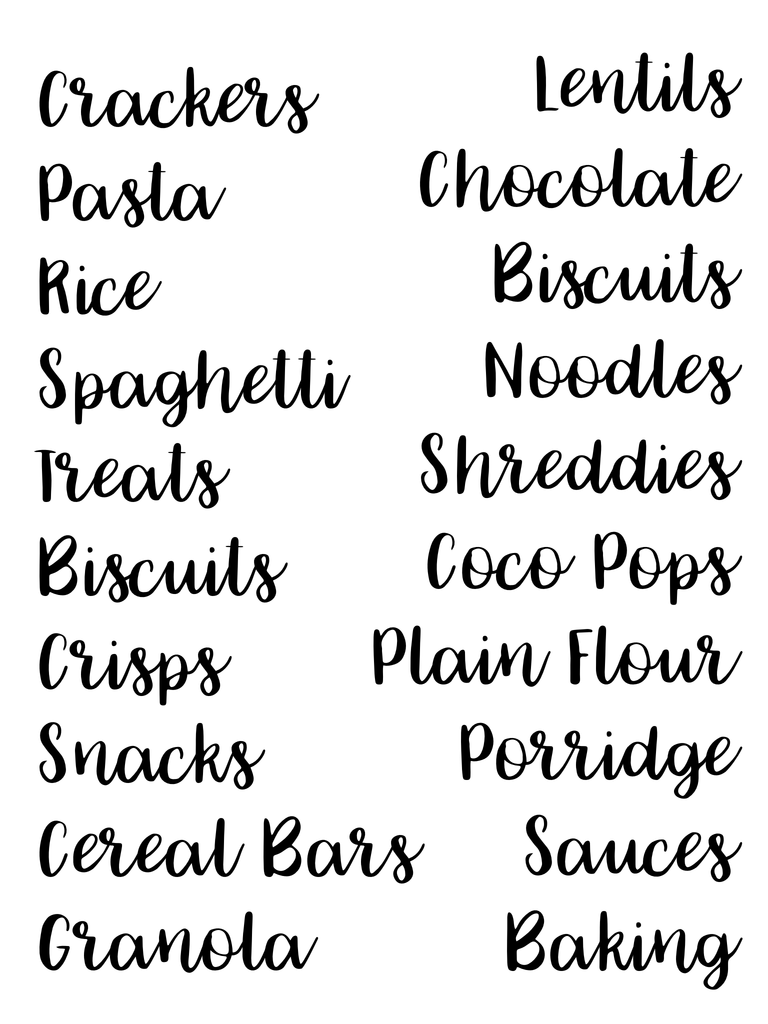 Organisation Labels - Font 8 - L&O Designs