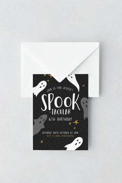 Ghost Themed Birthday Invitations - Design 6 - L&O Designs