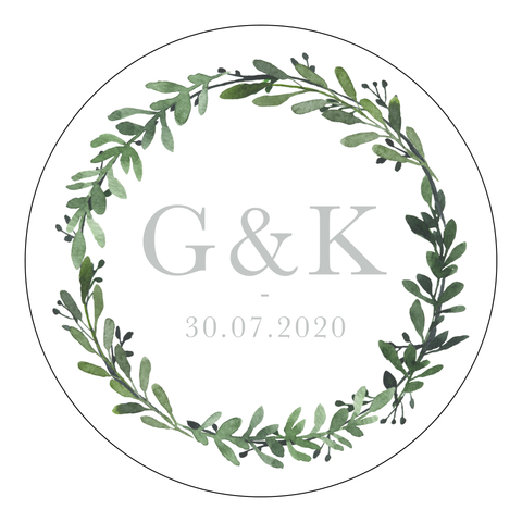 Greenery 1 - Round Sticker Design 4 - L&O Designs