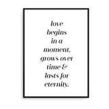 Love Begins In A Moment, Grows Over Time & Last For Eternity