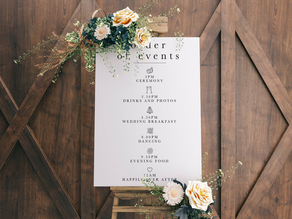 Order Of Events Sign - Design 2 - L&O Designs