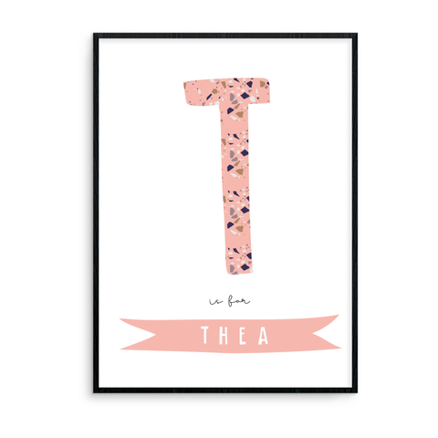 {Initial} is for {Name} - Pink Terrazzo - L&O Designs