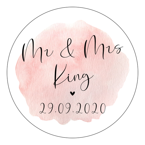 Watercolour Pink - Round Sticker Design 1 - L&O Designs