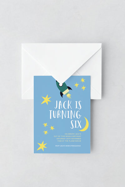 Rocket/Space Themed Birthday Invitations - Design 2 - L&O Designs