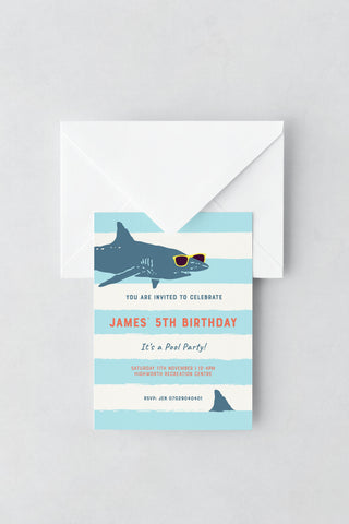 Shark Themed Birthday Invitations - Design 3 - L&O Designs