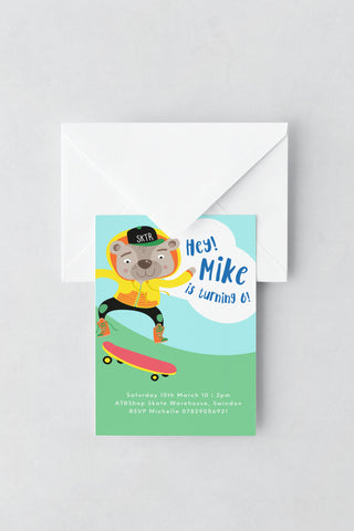 Skateboard Themed Birthday Invitations - Design 4 - L&O Designs