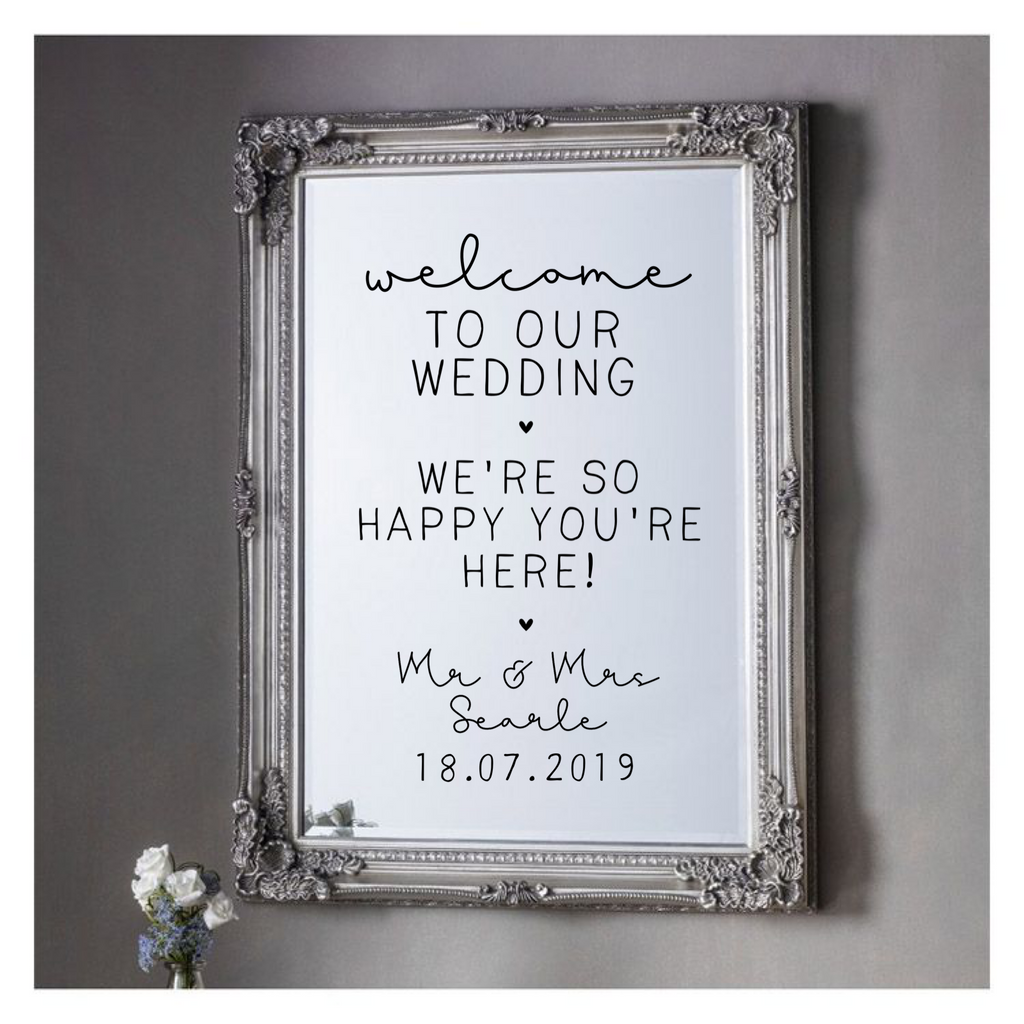 Wedding Vinyl For Mirror - Welcome To Our Wedding - L&O Designs