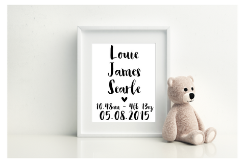 Personalised Name and Birth Print - L&O Designs