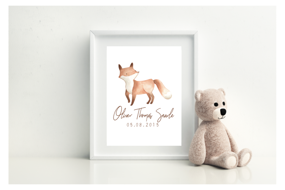 Fox Birth Print - L&O Designs