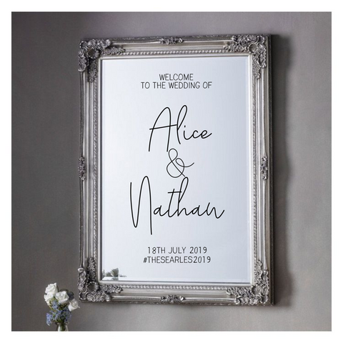 Wedding Vinyl For Mirror - Names - Design 1 - L&O Designs