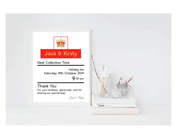Royal Mail Post Box Sign For Wedding Gift Drop Off - L&O Designs