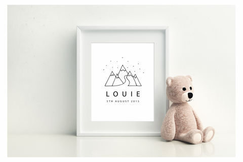 Mountains Birth Print - L&O Designs