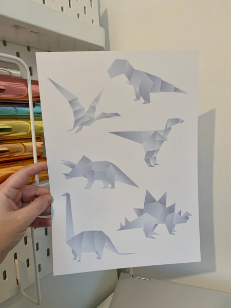 Origami Dinosaurs - Mixed Colours - A4