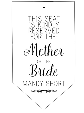 Reserved Seat Sign (2 per sheet) - L&O Designs