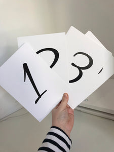 1-8 Table Numbers - Mono - A5 - L&O Designs