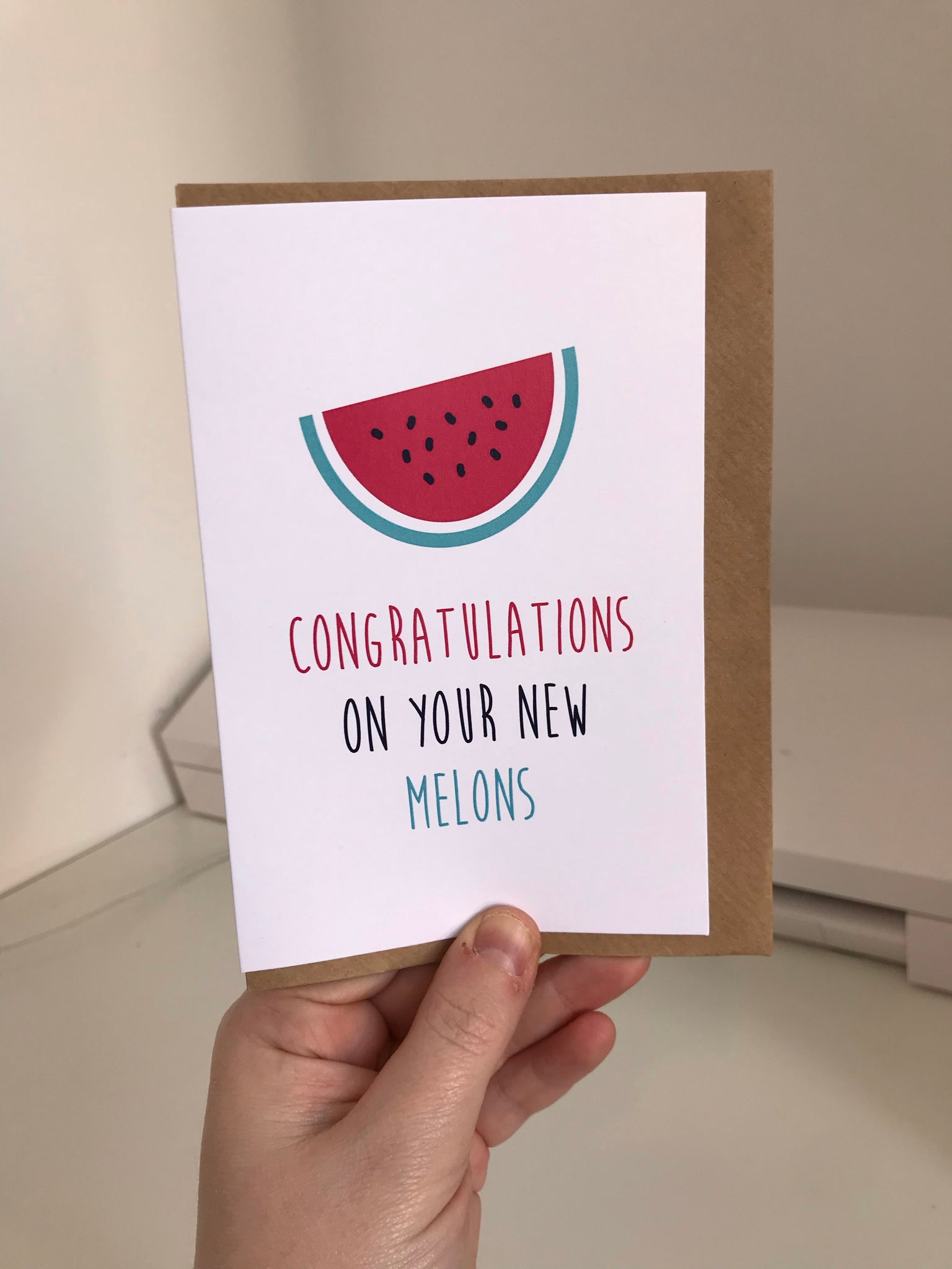 Congratulations On Your New Melons - Mono - 6x4 Greetings Card With Envelope - L&O Designs