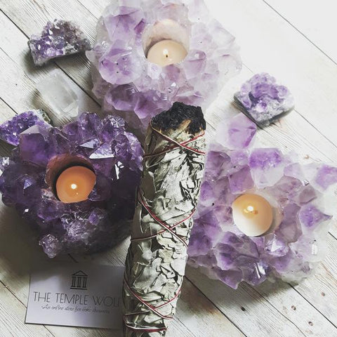 Amethyst lotus tealight holder and sage by The Temple Wolf Irish bohemian shop
