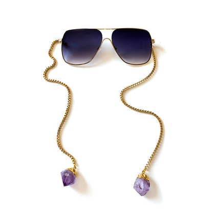 Ombre sunglasses with crystal hanging chain