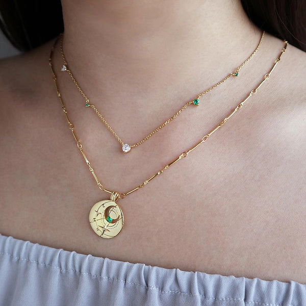 May Birthstone necklace by Wanderlust Boho style store