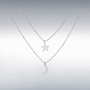 MOON AND STAR NECKLACE (STERLING SILVER)